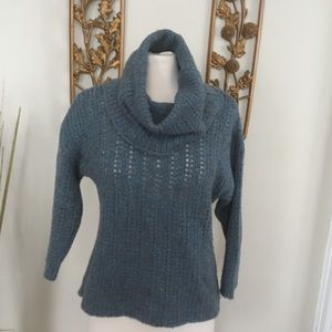 Eileen Fisher Blue Cowl Neck Sweater PL